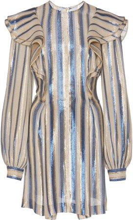 Striped Silk-Lurex Mini Dress