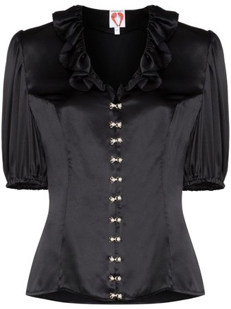 Shop black Shrimps levi ruffle neck blouse with Express Delivery - Farfetch