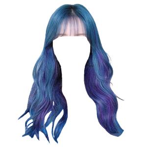 blue hair bangs png