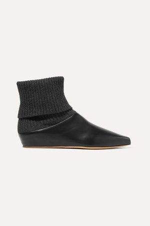 Rocia Leather And Cashmere Sock Boots - Black