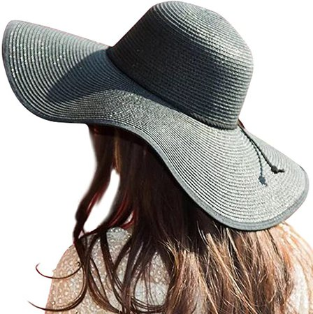 JOYEBUY Women Big Bowknot Straw Hat Floppy Foldable Roll up UV Protection Beach Cap Sun Hat (Style B-Black) at Amazon Women's Clothing store
