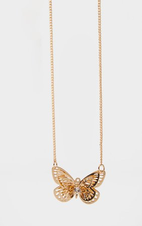Gold Butterfly Necklace | Accessories | PrettyLittleThing USA