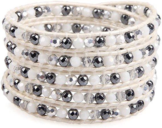 KELITCH New Top White Leather 5 Wrap Bracelets Handmade Crystal Beaded Bracelets Bangle for Strand Jewelry: Jewelry