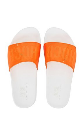 Shoes : 'Jetset' Orange Perspex Slides