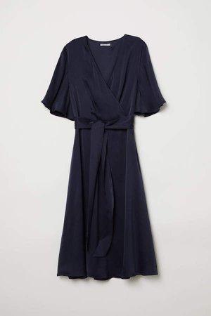 V-neck Silk Dress - Blue