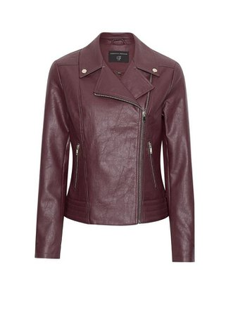 Berry PU Biker Jacket leather | Dorothy Perkins