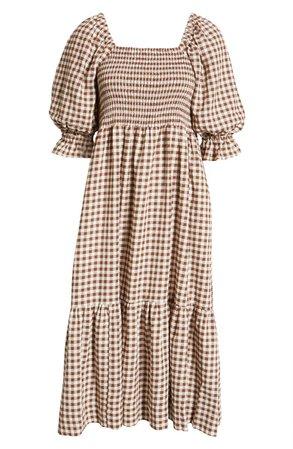 Lucie Gingham Elbow Sleeve Smocked Midi Dress   Nordstrom