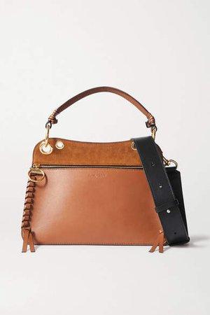Tilda Whipstitched Leather And Suede Shoulder Bag - Brown