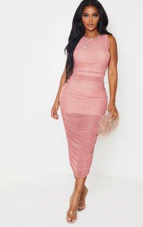 Shape Rose Sleeveless Mesh Midi Dress   PrettyLittleThing