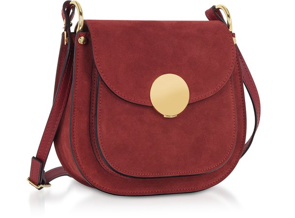 Le Parmentier Burgundy Agave Suede and Smooth Leather Shoulder Bag at FORZIERI
