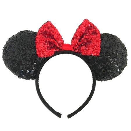 Disney's Minnie Mouse Girls Sequin Ear & Bow Headband | Kohls