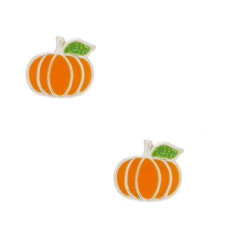 Sterling Silver Pumpkin Spice Stud Earrings | Claire's US