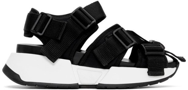 Black Safety Strap Chunky Sandals