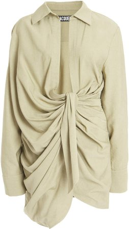Jacquemus Bahia Draped Crepe Mini Shirt Dress