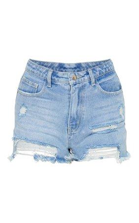 Plt Light Blue Wash Distressed Denim Shorts | PrettyLittleThing