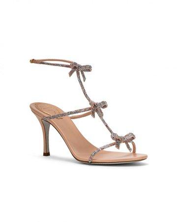 René Caovilla Caterina sandal 80 in pink satin