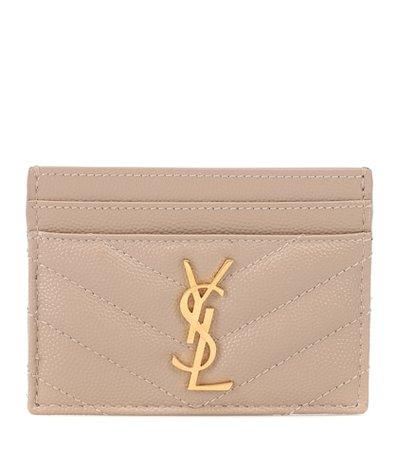 Monogram leather card holder
