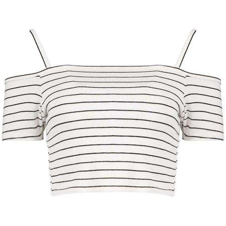 Boohoo Clara Stripe Rib Cold Shoulder Crop