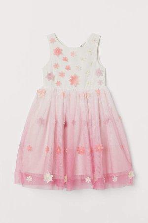 Appliqued Tulle Dress - White