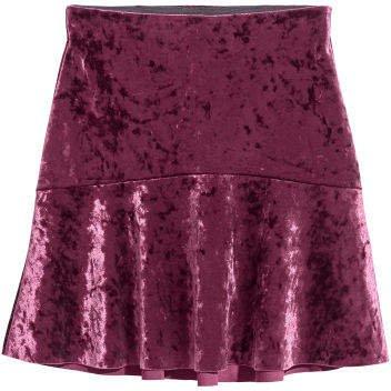 Crushed-velvet Skirt - Red
