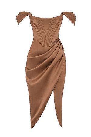 Clothing : Bodycon Dresses : 'Loretta' Toffee Satin Off Shoulder Dress