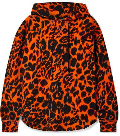 Oversized Leopard-print Cotton-jersey Hoodie - Orange
