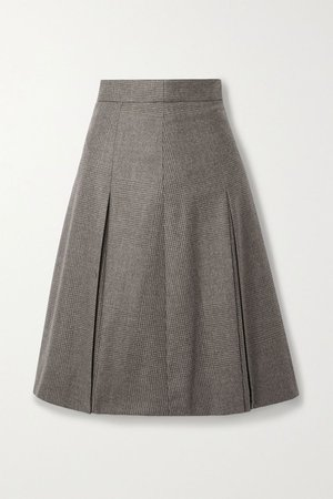 Mushroom Pleated checked wool skirt | Akris | NET-A-PORTER
