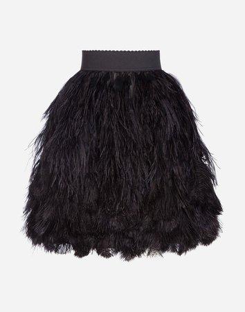 Women's Skirts | Dolce&Gabbana - FLOUNCE SKIRT IN FEATHERS