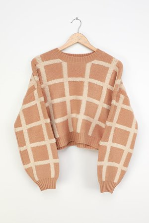 Cropped Pullover Sweater - Grid Sweater - Light Brown Sweater - Lulus