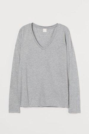 V-neck Jersey Top - Gray