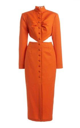 MATERIEL Button-Detailed Cutout Wool Midi Dress