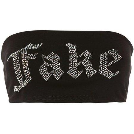 'Fake' Slogan Bandeau Top by Jaded London
