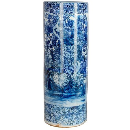 Japanese Blue and White Umbrella Stand