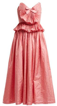 Gucci Pleated-trim silk-blend jacquard gown