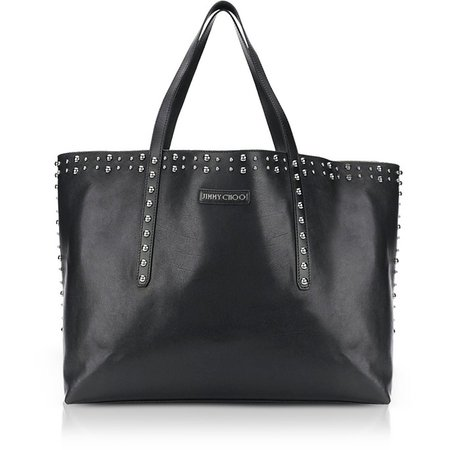 Jimmy Choo Pimlico Black Leather Tote Bag w/Pearl Studs at FORZIERI