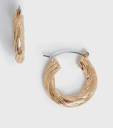 Gold Chunky Plait Hoop Earrings | New Look