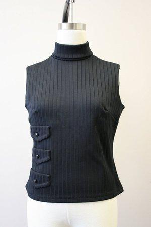 1960s Black Ribbed Knit Sleeveless Turtleneck | Etsy