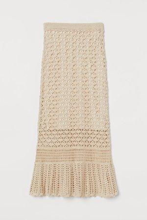 Crocheted Skirt - Beige