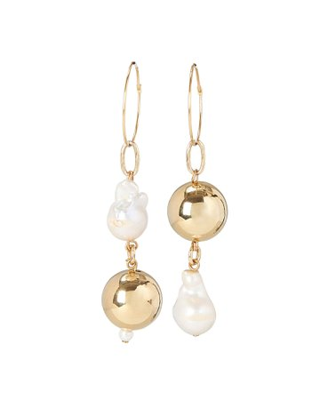 Pagoda Mismatched Pearl Earrings