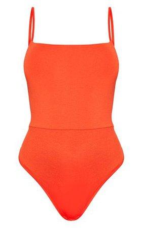 Basic Orange Square Neck Thong Bodysuit   PrettyLittleThing