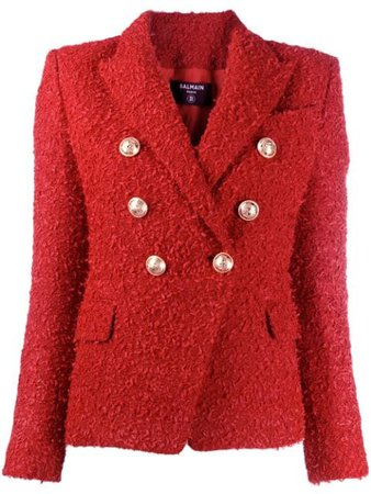 Balmain Double-Breasted Tweed Blazer TF17110X319 Red | Farfetch