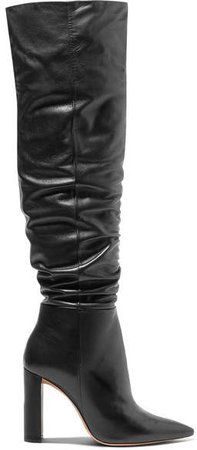 Anna Leather Knee Boots - Black