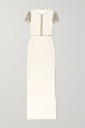 Jenny Packham | Cosmo embellished tulle and cady gown | NET-A-PORTER.COM