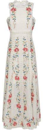 Cutout Embroidered Linen And Cotton-blend Midi Dress