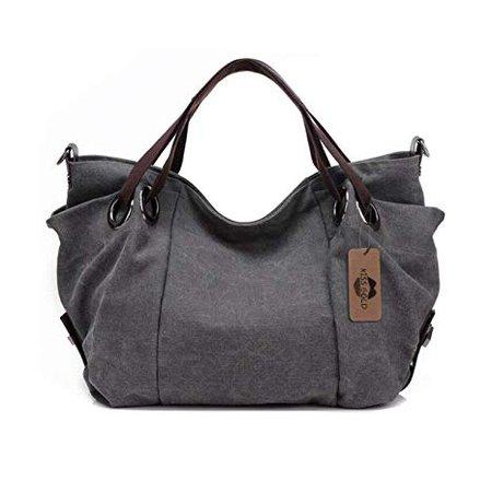 "Amazon.com: KISS GOLD(TM) Women's Canvas Hobo Top-handle Bag Crossbody Shoulder Bag, European Style, Large Size 16""X6.8""X12"", Grey: Clothing"