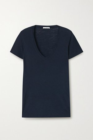 Slub Supima Cotton-jersey T-shirt - Navy