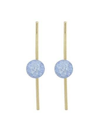 Blue Beads Simulated-Pearl Long Stud Earrings