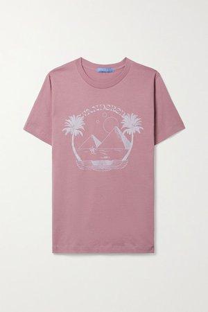 Printed Cotton-jersey T-shirt - Antique rose