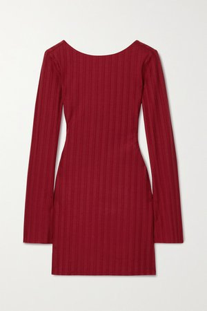 Cait Cutout Ribbed Stretch-tencel Lyocell Jersey Mini Dress - Red