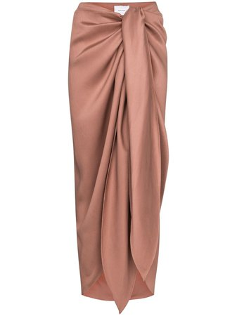 Bondi Born Draped tie-front Midi Skirt - Farfetch